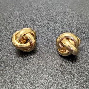Monet gold tone clip on knot earrings